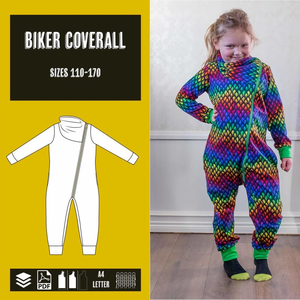Biker coverall sewing pattern